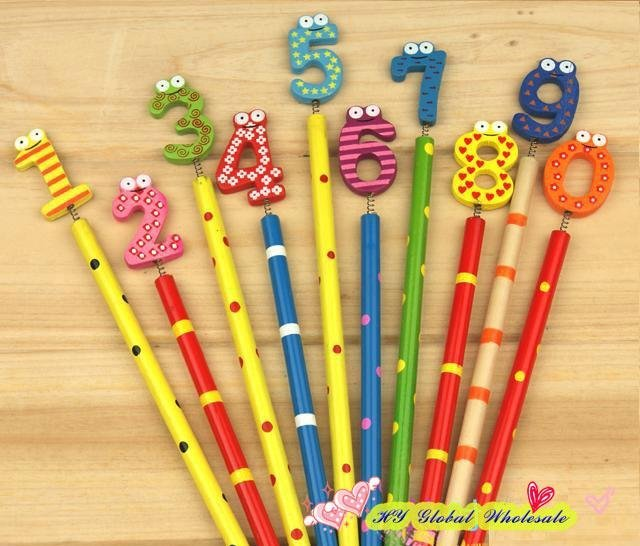 40PCS/lot  New Cute Number Wooden  Pencils  Office and Study Pencils Gift for Kids Stationery