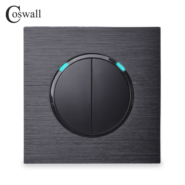 Coswall 2 Gang 1 Way Random Click On / Off Wall Light Switch With LED Indicator Black / Silver Grey Aluminum Metal Panel R12-02
