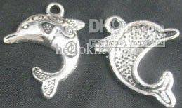 300pcs Tibetan silver carved dolphin charms A1139