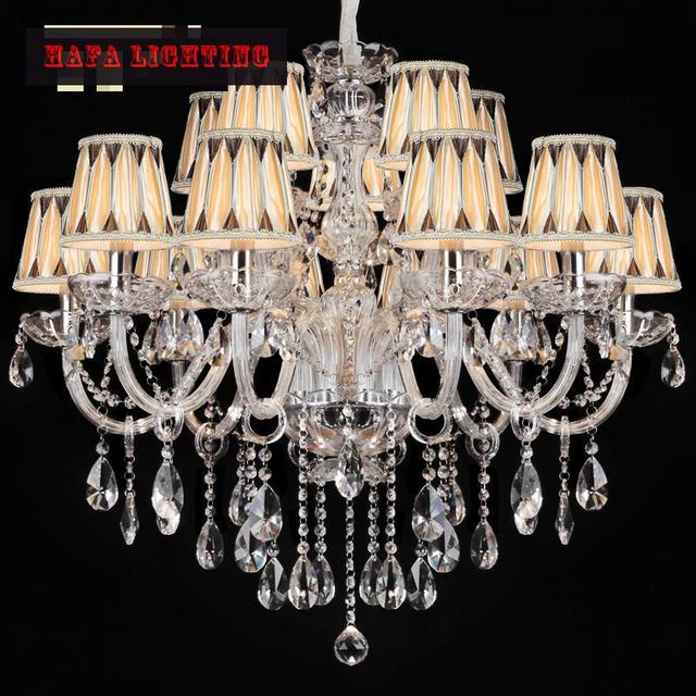 Free shipping 15 Arm Large Crystal Chandelier Lamp Lustre Home luxury clear transparent large chandelier with/without lampshade