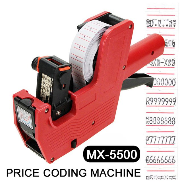 Label Stamping Machine Price Labeller Unique Red MX5500 Code Printer Office Digits EOS Lines Labels