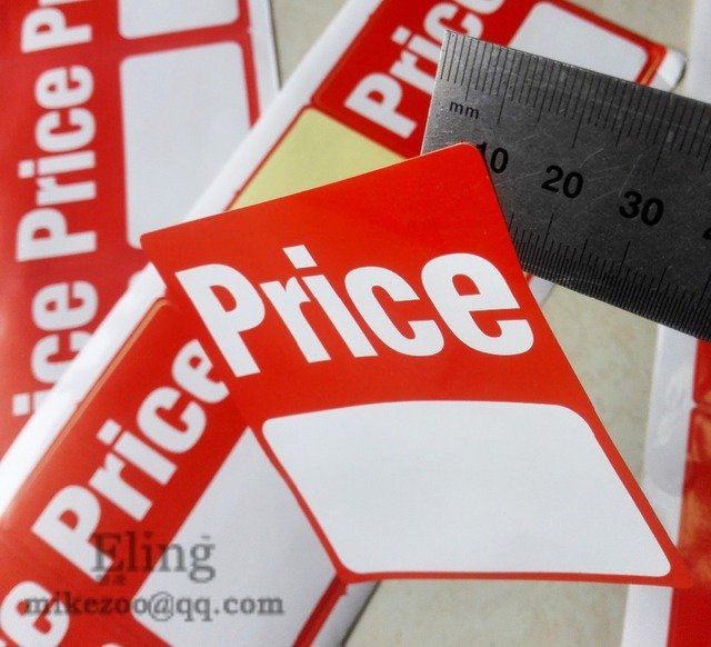 76x89mm PRICE TAG Self adhesive sales promotion paper label sticker, Item No. PD12