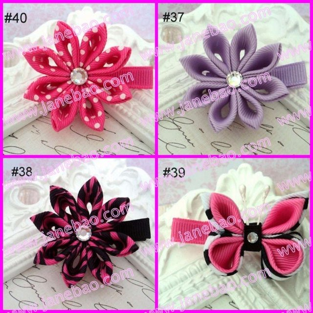 free shipping mix color pink 220pcs kanzashi flower hair clips badge reel hair clips holder