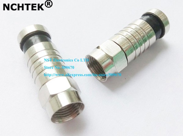 NCHTEK RG6 F CONNECTOR COAX COAXIAL COMPRESSION FITTING Push & Seal F-Connector - RG6 Connector Adapter/Free Shipping/10PCS