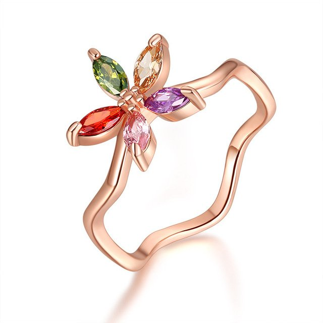 MOONROCY Cubic Zirconia Colourful Crystal CZ Rings Bohemia Rose Gold Color Flowers Jewelry Wholesale Gift for Women Girls
