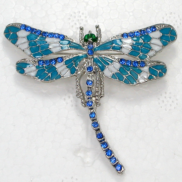 12pcs/lot Wholesale Fashion Brooch Rhinestone Enamel Dragonfly Pin brooches Gift C101180