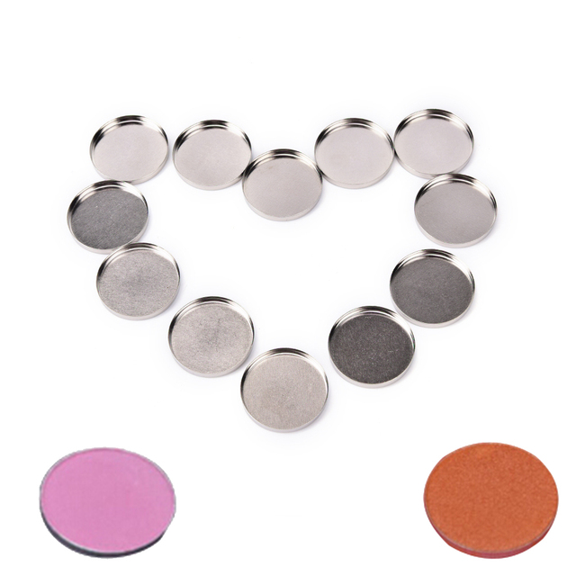 12 pcs DIY 26mm Makeup Cosmetic Empty Aluminum Cases Pans For Eyeshadow Eye Shadow Container Pans Palette Case Makeup Tool