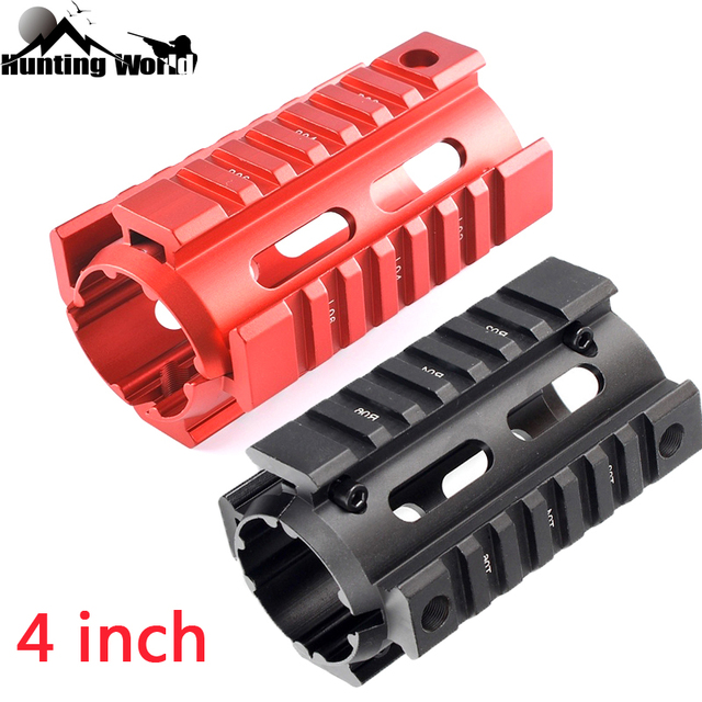 Tactical Aluminu 4 inch Two Piece Free Float Drop In Quad Rail Handguard Mount for Hunting Airsfot AR15 M4 M16 Rifle Red Black