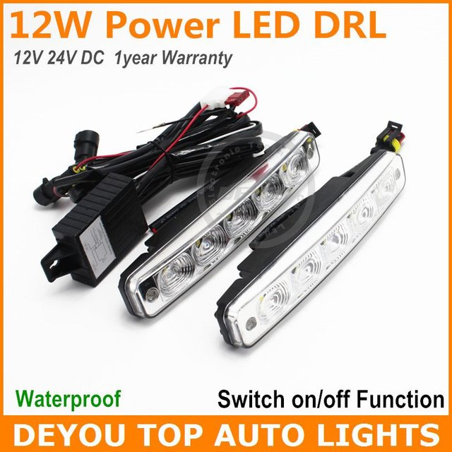 1set x  2014 Update 12W LED Daytime Running Light Switch on/off E4 For 12V 24V LED DRL Car Truck Driving Fog light Lamp White