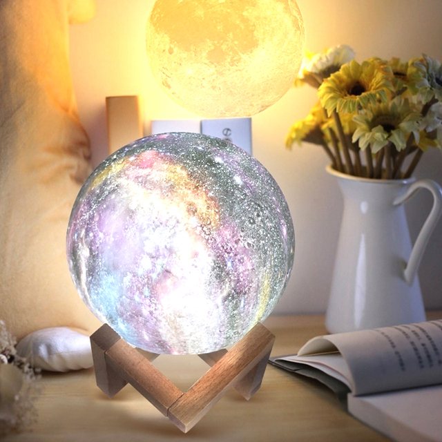 Moon Light Earth Moon Lamp Personality 3D Print Creative Lunar Light Night Light LED Moon Light