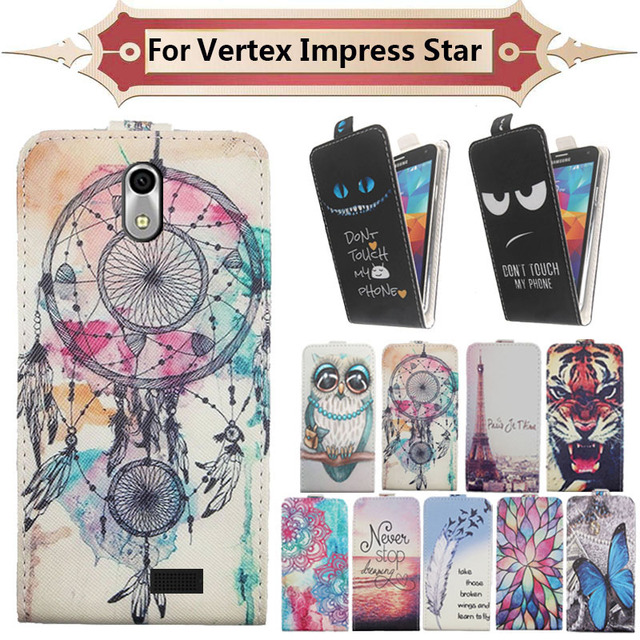 Top Selling 11 Colors Cartoon Pattern Up and Down Flip PU Leather Case For Vertex Impress Star