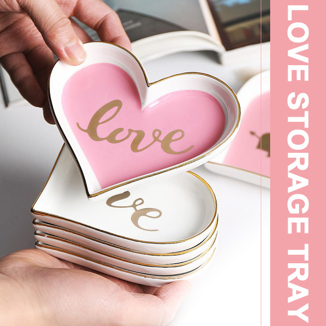 Heart Shape Ceramic Tray Creative Dinner Plate Holders for Valentine'S Day Gift Wedding Home Decor Jewelry Plate Dessert