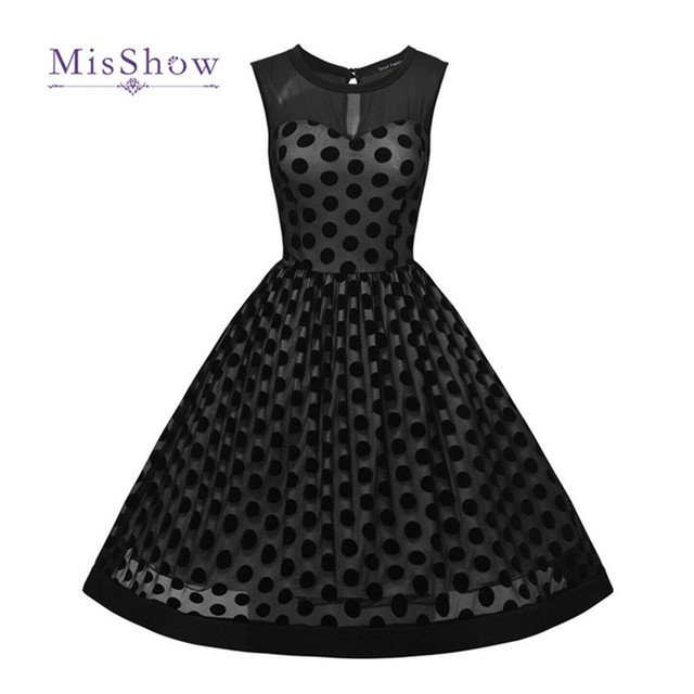 MisShow  Audrey Hepburn 50s Summer Vintage Casual Dot Tulle Black Dresses Plus Size women Clothing Vestidos Party Dress