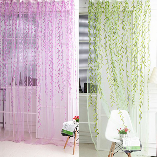 New arrival! Home Tree Glass Yarn Willow Curtain Tulle Room Decor Curtain Sheer Panel Drapes