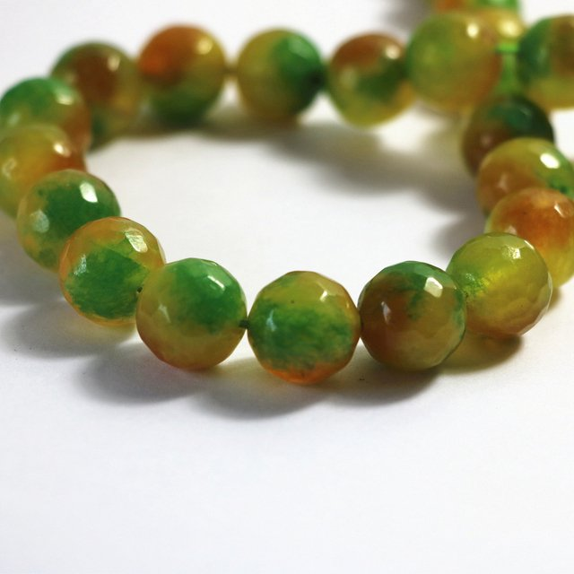 Natural green and yellow carnelian agat natural stone onyx 6mm 8mm 10mm 12mm faceted round loose beads making gift A22