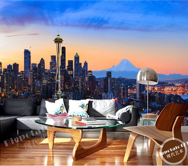 The latest 3D murals, New York city center at night, the bustling building, the living room TV sofa bedroom wall paper