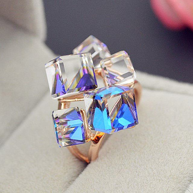 MOONROCY Free Shipping Zirconia Fashion Jewelry Rose Gold Color Austrian Square Be Blue Purple Crystal Rings for Women Gift