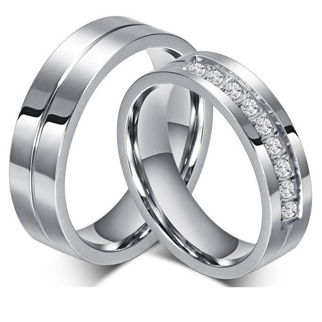 Fashion Women And Men Wedding Rings Wholesale 316L Stainless Steel Ring With CZ Stone Jewelry Engagement Wedding Bands