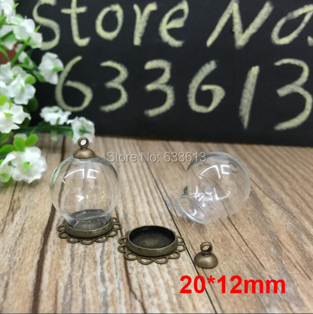 Free ship!! 50sets/lot bronze color 20*12mm glass globe & lace base & 6mm cap set glass globe set glass vial pendant glass cover