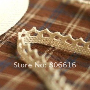 "1CM 50Yard 100% Cotton "" Beige "" String Lace Beige Color Crown Style Braid Belt DIY Jewelry Lace Jewelry Accessory"
