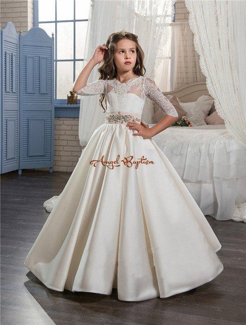 New Princess ball gown flower girls dresses sheer Crew Neck lace draped satin bows holy communion dresses for toddler girls