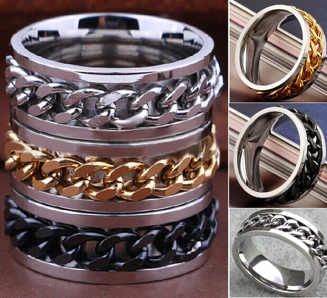 Wholesale 100pcs Mix lot SPIN Chain Stainless steel Rings Men's Spinner Rings Quality Fashion Jewelry