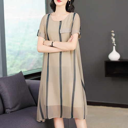 2020 Summer Silk Elegant Fashion Women Dresses New Style Round Collar And Short Sleeve Printed Designs Loose Lady Dress A-line