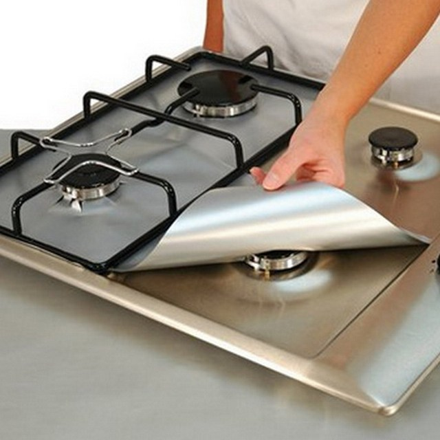 4Pcs Square Washable Reusable Foil Gas Hob Range Stovetop Burner Protector Liner Cover For Cleaning Kitchen Cooking Tool Sets