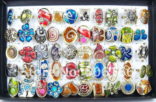 Wholesale 50pc/lot Handmade Copper Alloy Rings Resizable Fashion Jewelry Ring Free Shipping