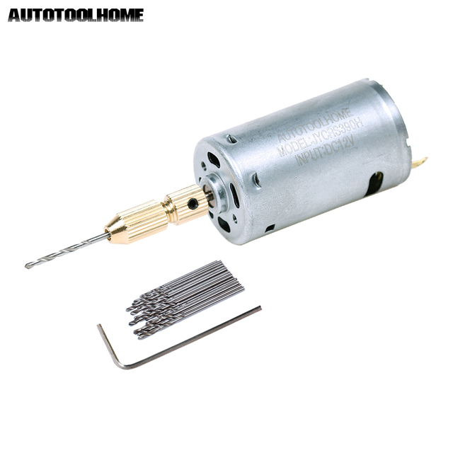 AUTOTOOLHOME Mini 12V Motor Micro DIY Electric Hand Drill PCB Press Drilling 0.8mm-1.5mm Twisit Drill Bits Keyless Brass Chucks