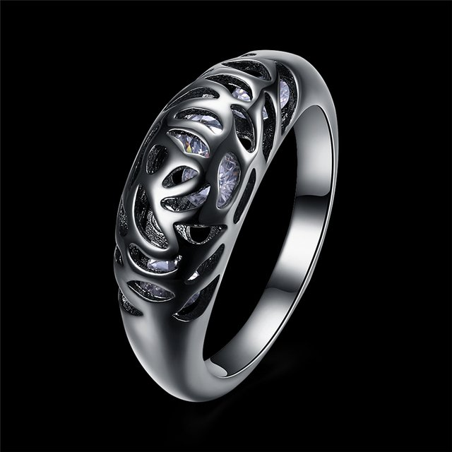 Fashion New Arrival Black Gun Plated Elegant Hollow Ring With Crystal Cubic Zirconia Wedding Ring Party Cocktail 2018 Jewelry