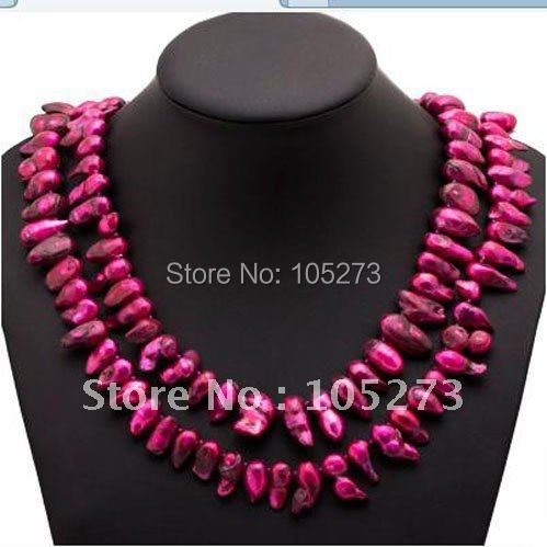 Stunning!Pearl necklace AA 14-19MM Red color Genuine Freshwater pearl Baroque shaper 48''inch long necklace Free shipping NF119