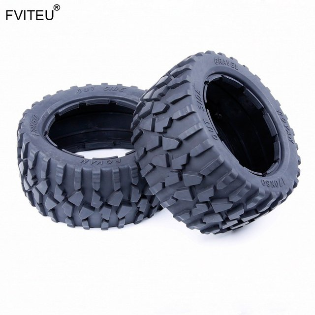 FVITEU Rubber Rear Gravel Tire set Fit 1/5 HPI Baja 5B SS Rovan King Motor