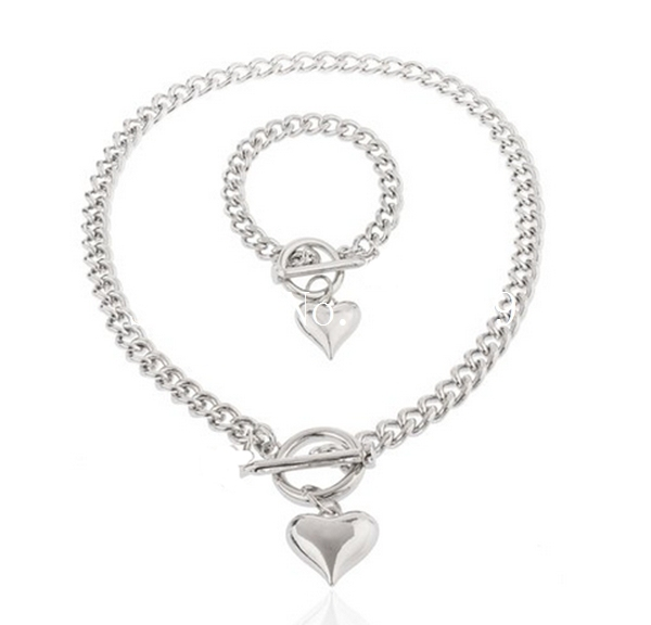 5mm popular women's silver Color stainless steel 316L oval chain heart necklace bracelet jewelry