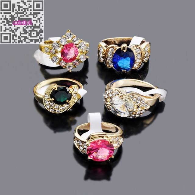 Wedding Ring Jewelry 20Pcs CZ Crystal Gold Metal Imitation Zircon Engagement Rings Wholesale Mix Lots