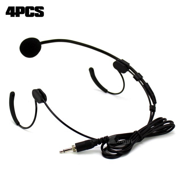 4Pcs 3.5mm Jack Male External Screw Lockable Dual Earhook Headset Mic Headworn Microphone For Wireless Beltpack Transmitter Sing