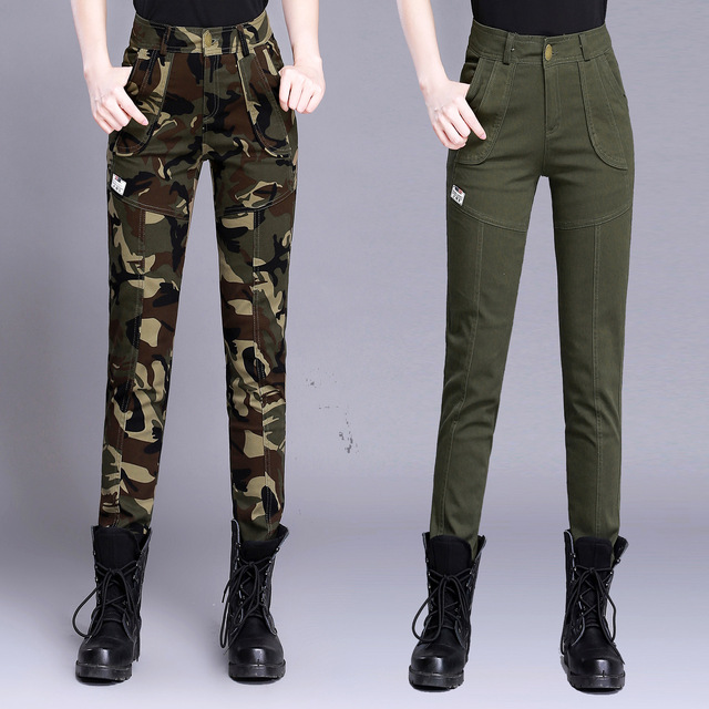 Women's High Waist Camouflage Army Pants Cotton Military Cargo Pants Casual Female Plus Size Army Green Trousers Capris