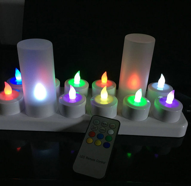 12pcs/set Remote Controlled Rechargeable Tea Light LED Candles frosted Flameless color Changing lamp f/Party Wedding-Multicolor