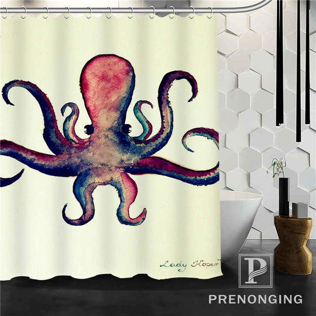 Personalized Custom  Ocean Octopus Shower Curtain Home Decor Bathing Curtains Cloth Waterproof Polyester @W04 S171218-04
