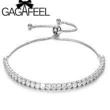 GAGAFEEL 925 Silver Jewelry AAA Cubic Zirconia Tennis Bracelets Bangles Adjustable Link Chain Bracelet White Birthstone Gifts