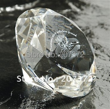 Free Shipping. 50Pcs/lot,Customize Clear 80mm Crystal Round Diamond Paperweight With 2d Ring For Wedding Party Decoration Gifts