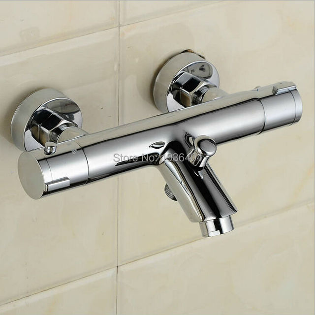 Thermostatic Shower Faucet Mixer Water Tap Dual Handle Polished Chrome thermostatic mixing valve torneira de parede TR509