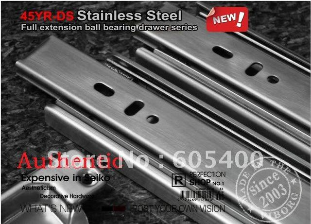"""Top quality products 12"""" ( 30CM ) ball drawer ball bearing slide rail section three 45YR-DS2 stainless steel + FREE SHIPPING"""