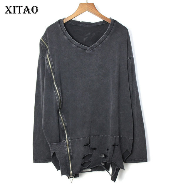 [XITAO] Spring Summer 2019 New Female Casual Pullover Tee Europe Fashion Full Sleeve V-neck Solid Color T-shirt  WBB2784
