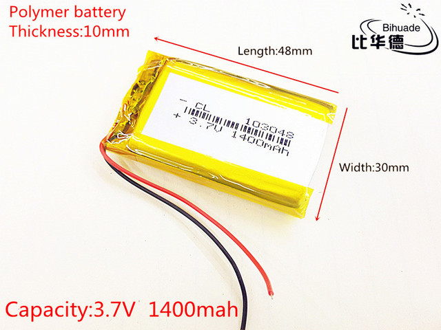3.7V 1400mAh 103048 Lithium Polymer Li-Po li ion Rechargeable Battery cells For Mp3 MP4 MP5 GPS PSP mobile bluetooth