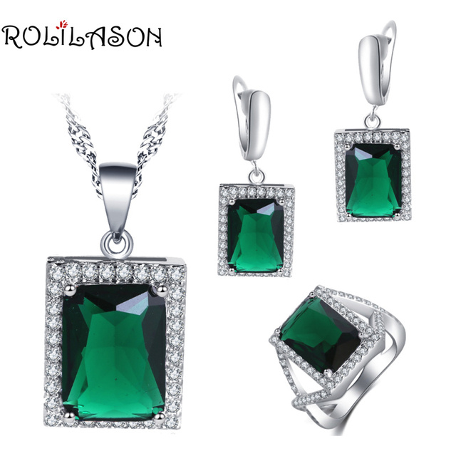 ROLILASON Surprise wedding gift For girl Green Zircon Square Design  silver plated Earrings Necklace Rings Jewelry Sets JS754