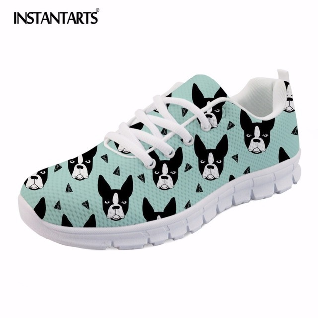 INSTANTARTS Casual Women Spring Flats Shoes Fashion Cute Animal Dog French Bulldog Print Women's Mesh Flats Shoes Sneaker Shoes