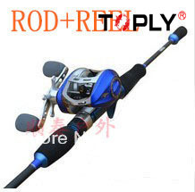 Free Shipping!Fishing spin casting rod 1.8 double ml mh&10+1BB Bait Casting Reels fishng rod set