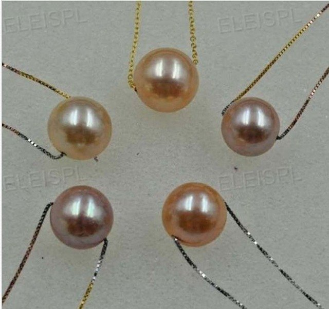 wholesale jewelry necklace 11.5-12mm round natural pearl pendant 5 Qty