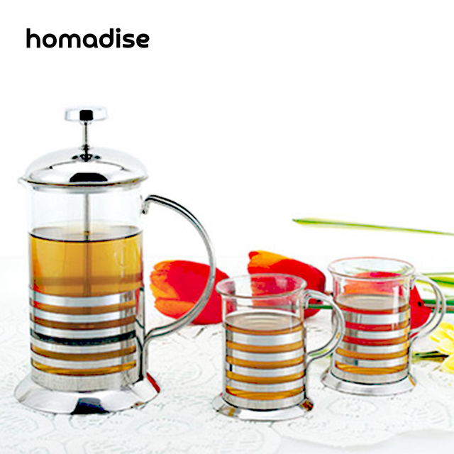 Homadise Stainless Steel Glass Coffee Pot Kettle French Press Style Tea Maker Filter Home Office Accessories 350ML